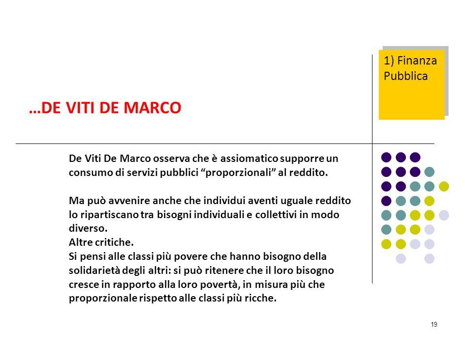19 De Viti De Marco osserva che è assiomatico supporre un consumo di servizi pubblici proporzionali al reddito.