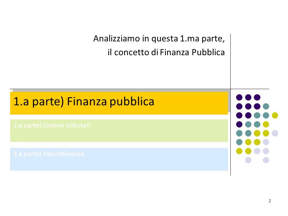 2 1.a parte) Finanza pubblica 2.a parte) Sistemi tributari 3.a parte) Macrofinanza Analizziamo in questa 1.ma parte, il concetto di Finanza Pubblica