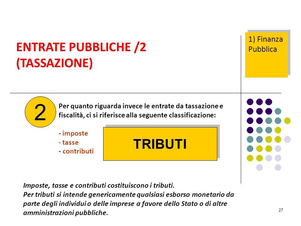 27 Per quanto riguarda invece le entrate da tassazione e fiscalità, ci si riferisce alla seguente classificazione: - imposte - tasse - contributi ENTRATE PUBBLICHE /2 (TASSAZIONE) 2 Imposte, tasse e contributi costituiscono i tributi.