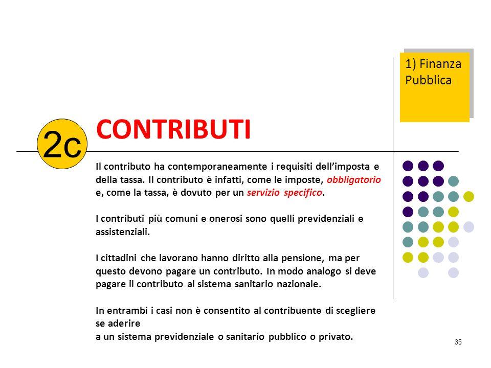 35 CONTRIBUTI Il contributo ha contemporaneamente i requisiti dellimposta e della tassa. Il contributo è infatti, come le imposte, obbligatorio e, com