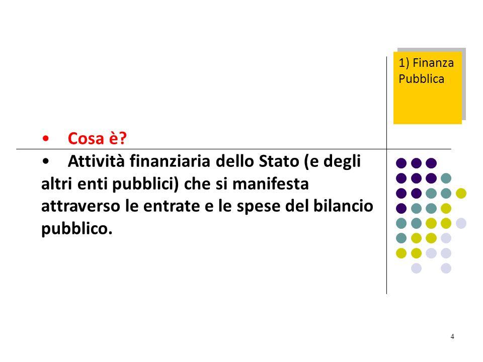 4 1) Finanza Pubblica Cosa è? Attività finanziaria dello Stato (e degli altri enti pubblici) che si manifesta attraverso le entrate e le spese del bil