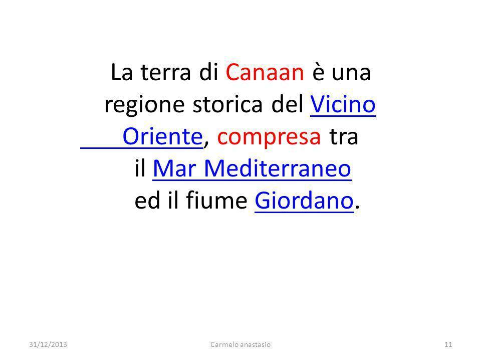 La terra di Canaan è una regione storica del VicinoVicino Oriente Oriente, compresa tra il Mar MediterraneoMar Mediterraneo ed il fiume Giordano.Giord