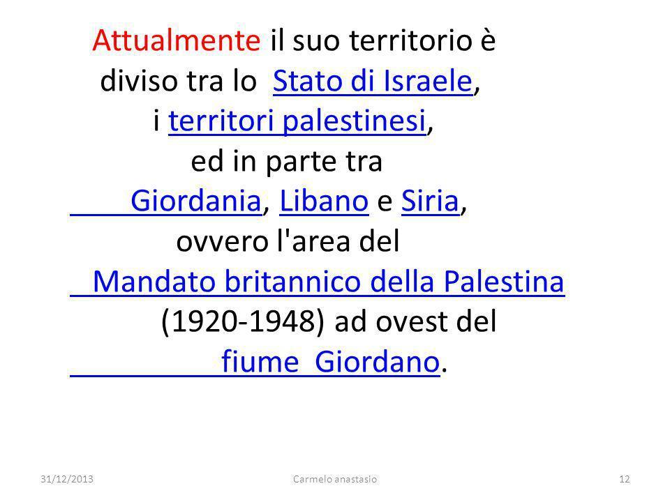 Attualmente il suo territorio è diviso tra lo Stato di Israele,Stato di Israele i territori palestinesi,territori palestinesi ed in parte tra Giordani