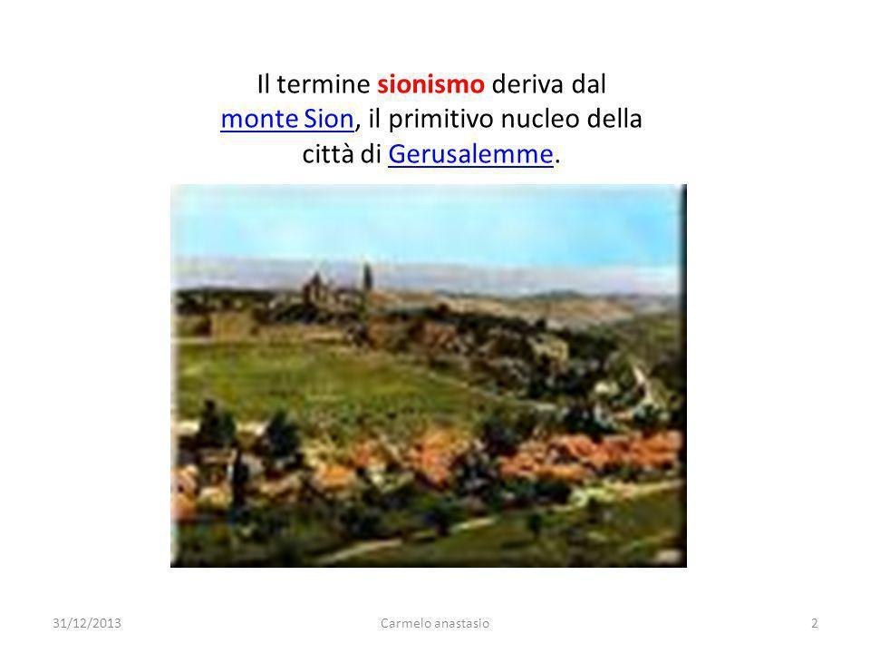 Il termine sionismo deriva dal monte Sion, il primitivo nucleo della città di Gerusalemme. monte SionGerusalemme 31/12/20132Carmelo anastasio
