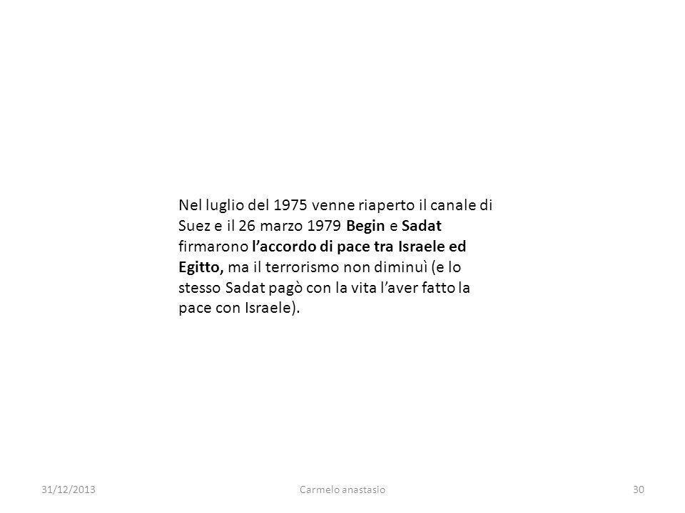 Nel luglio del 1975 venne riaperto il canale di Suez e il 26 marzo 1979 Begin e Sadat firmarono laccordo di pace tra Israele ed Egitto, ma il terroris