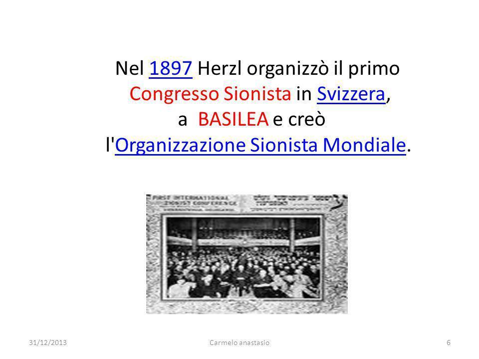 Nel 1897 Herzl organizzò il primo1897 Congresso Sionista in Svizzera,Svizzera a BASILEA e creò l'Organizzazione Sionista Mondiale.Organizzazione Sioni