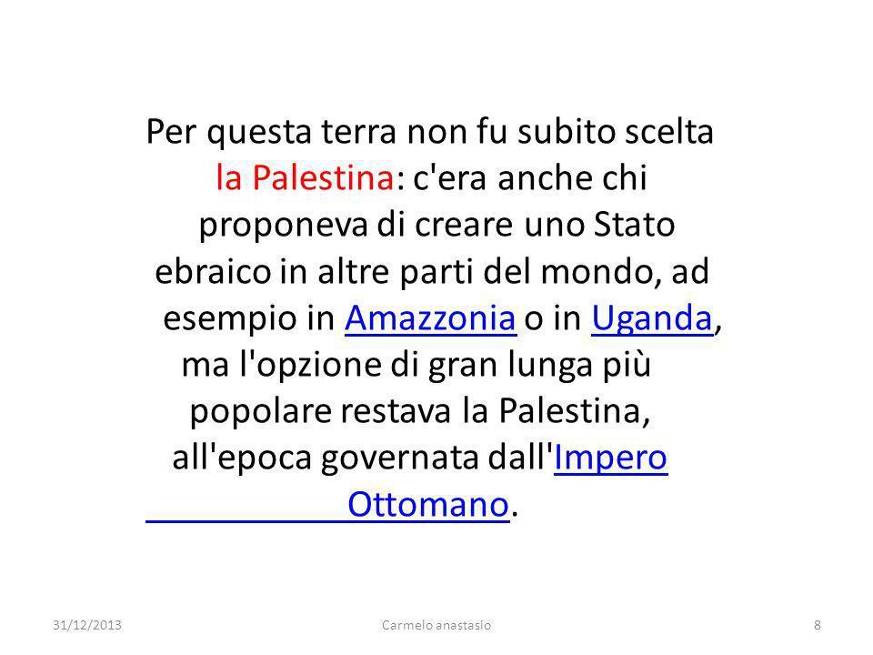 Per questa terra non fu subito scelta la Palestina: c'era anche chi proponeva di creare uno Stato ebraico in altre parti del mondo, ad esempio in Amaz