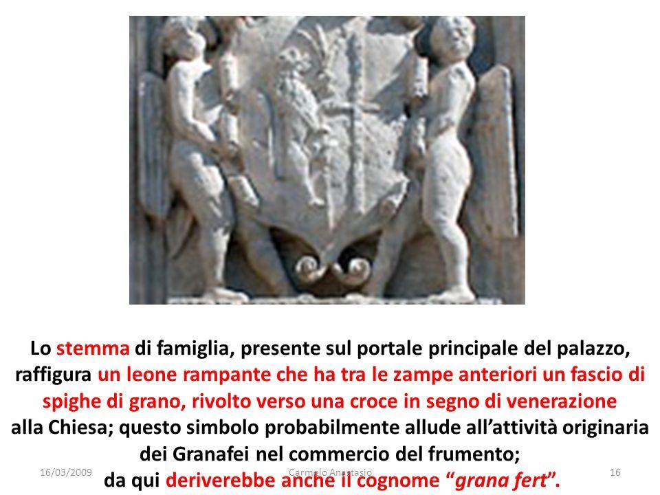 Lo stemma di famiglia, presente sul portale principale del palazzo, raffigura un leone rampante che ha tra le zampe anteriori un fascio di spighe di g