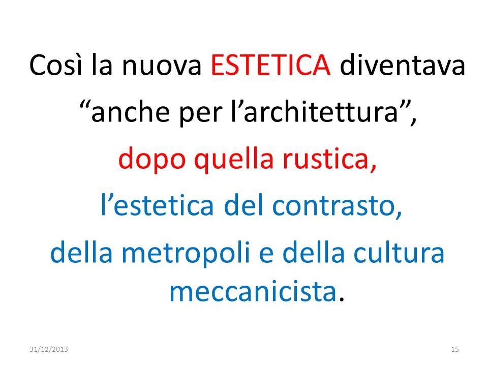 Così la nuova ESTETICA diventava anche per larchitettura, dopo quella rustica, lestetica del contrasto, della metropoli e della cultura meccanicista.