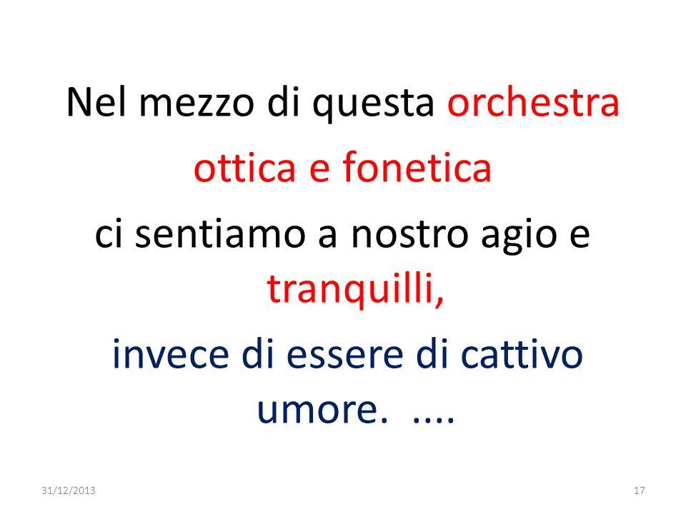 Nel mezzo di questa orchestra ottica e fonetica ci sentiamo a nostro agio e tranquilli, invece di essere di cattivo umore..... 31/12/201317
