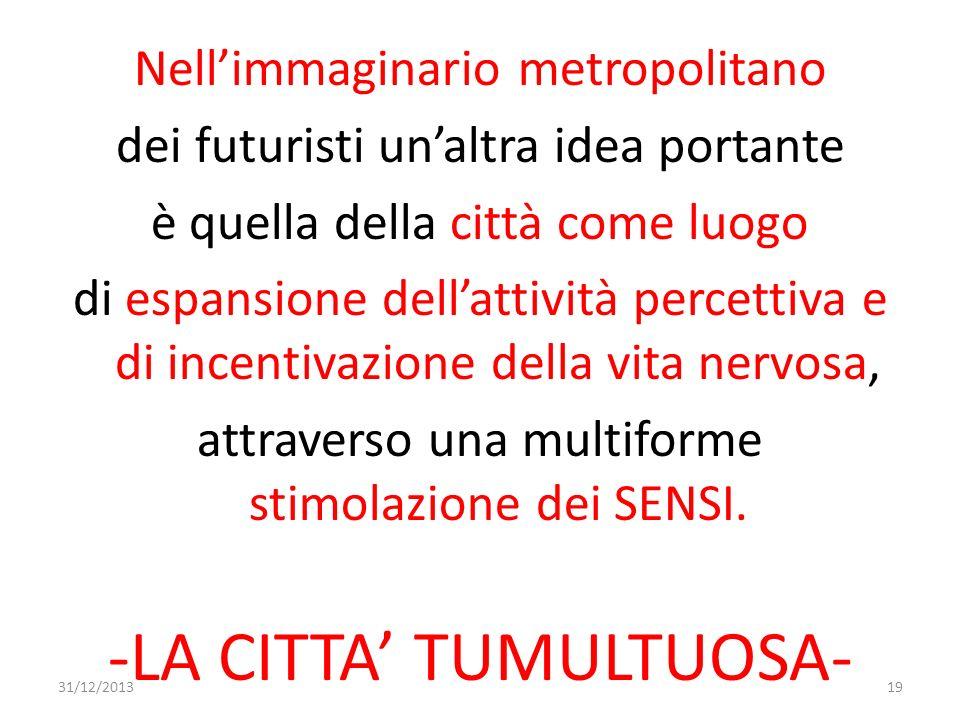 Nellimmaginario metropolitano dei futuristi unaltra idea portante è quella della città come luogo di espansione dellattività percettiva e di incentiva