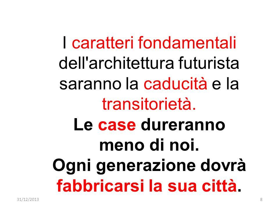 I caratteri fondamentali dell'architettura futurista saranno la caducità e la transitorietà. Le case dureranno meno di noi. Ogni generazione dovrà fab