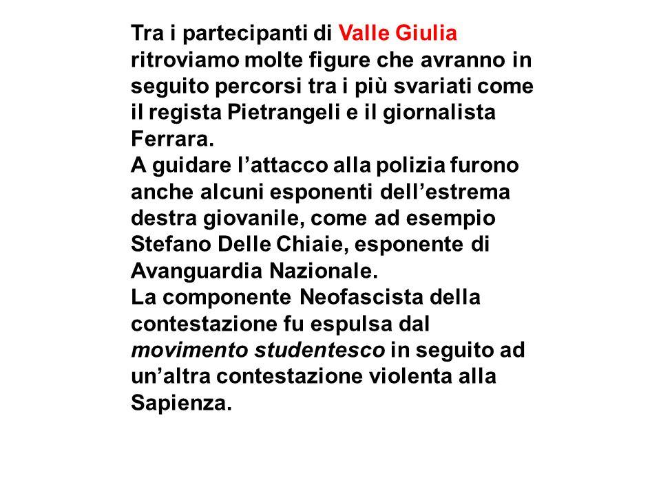 Tra i partecipanti di Valle Giulia ritroviamo molte figure che avranno in seguito percorsi tra i più svariati come il regista Pietrangeli e il giornalista Ferrara.