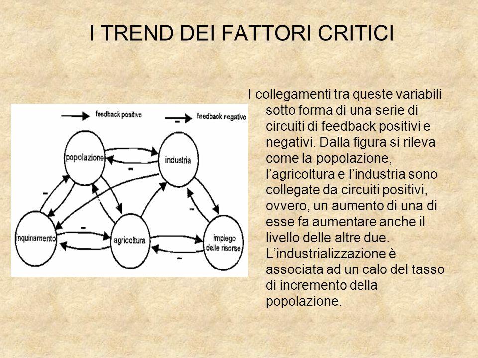 I TREND DEI FATTORI CRITICI I collegamenti tra queste variabili sotto forma di una serie di circuiti di feedback positivi e negativi. Dalla figura si