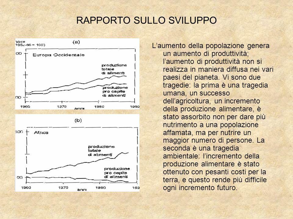 RAPPORTO SULLO SVILUPPO Laumento della popolazione genera un aumento di produttività; laumento di produttività non si realizza in maniera diffusa nei