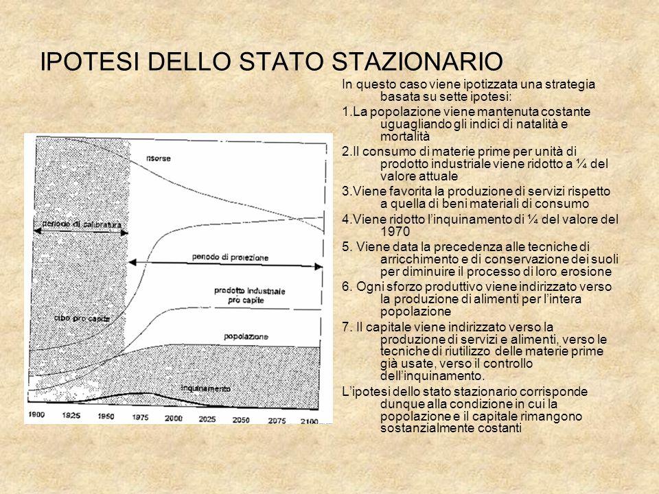 IPOTESI DELLO STATO STAZIONARIO In questo caso viene ipotizzata una strategia basata su sette ipotesi: 1.La popolazione viene mantenuta costante uguag