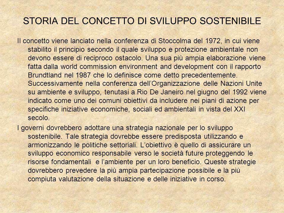 STORIA DEL CONCETTO DI SVILUPPO SOSTENIBILE Il concetto viene lanciato nella conferenza di Stoccolma del 1972, in cui viene stabilito il principio sec
