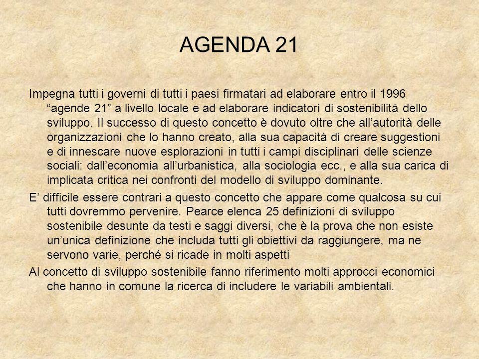 AGENDA 21 Impegna tutti i governi di tutti i paesi firmatari ad elaborare entro il 1996 agende 21 a livello locale e ad elaborare indicatori di sosten