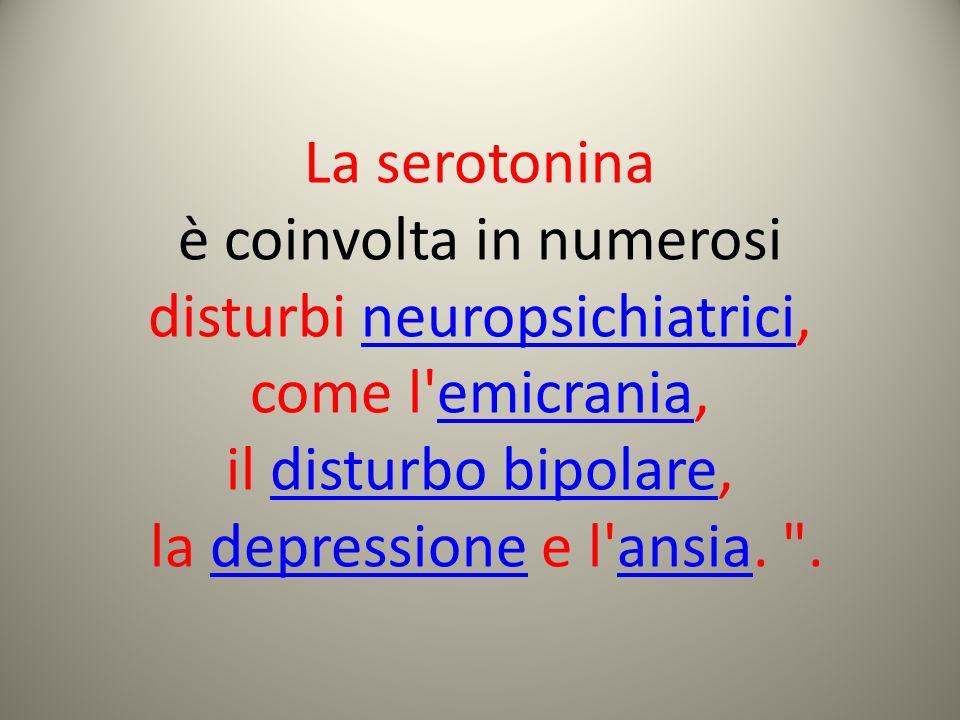La serotonina è coinvolta in numerosi disturbi neuropsichiatrici,neuropsichiatrici come l'emicrania,emicrania il disturbo bipolare,disturbo bipolare l