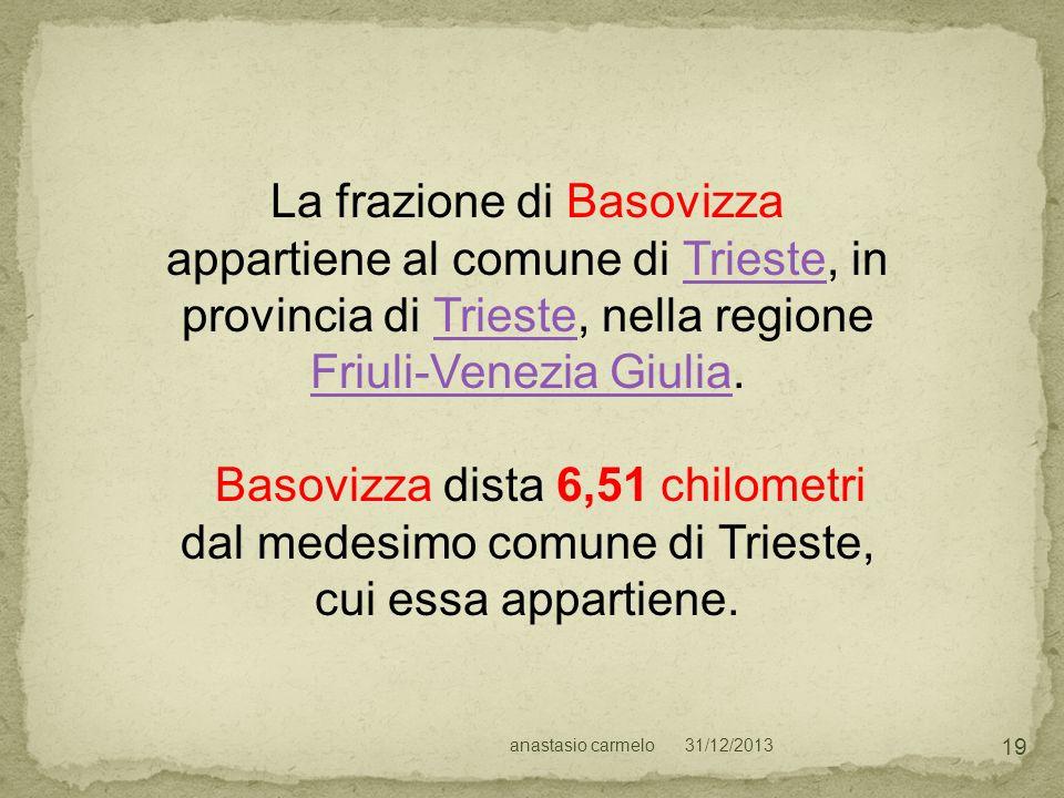 31/12/2013anastasio carmelo 19 La frazione di Basovizza appartiene al comune di Trieste, in provincia di Trieste, nella regione Friuli-Venezia Giulia.