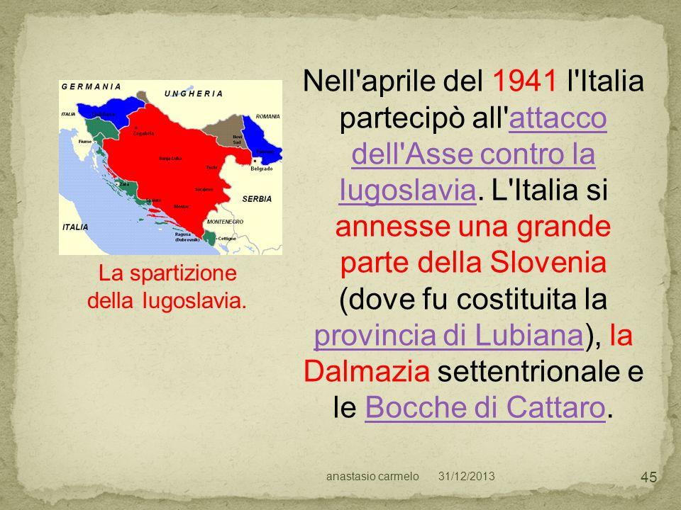 31/12/2013anastasio carmelo 45 La spartizione della Iugoslavia. Nell'aprile del 1941 l'Italia partecipò all'attacco dell'Asse contro la Iugoslavia. L'