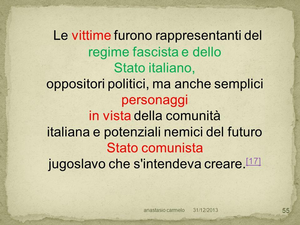 31/12/2013anastasio carmelo 55 Le vittime furono rappresentanti del regime fascista e dello Stato italiano, oppositori politici, ma anche semplici per