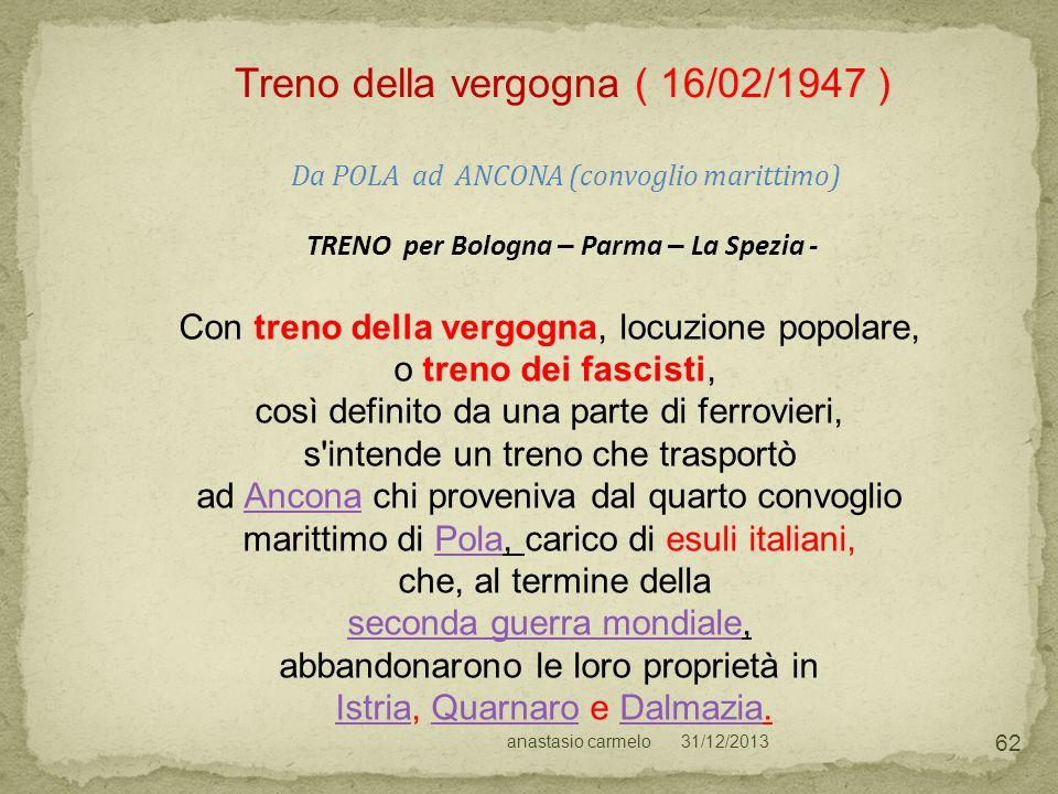 31/12/2013anastasio carmelo 62 Treno della vergogna ( 16/02/1947 ) Da POLA ad ANCONA (convoglio marittimo) TRENO per Bologna – Parma – La Spezia - Con