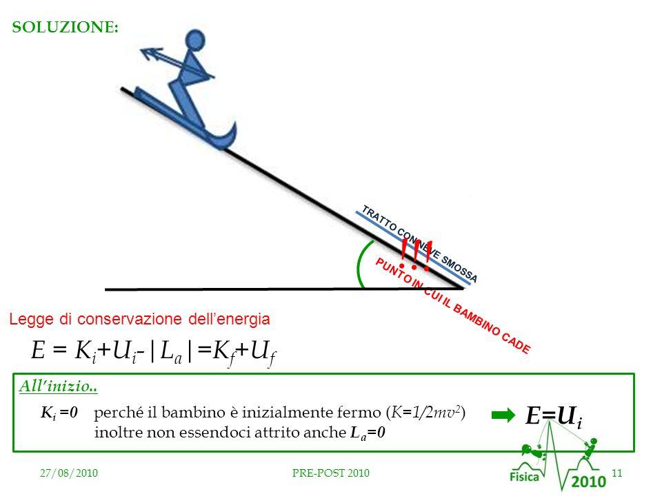 27/08/201011PRE-POST 2010 TRATTO CON NEVE SMOSSA PUNTO IN CUI IL BAMBINO CADE !!! E = K i +U i -|L a |=K f +U f Legge di conservazione dellenergia SOL