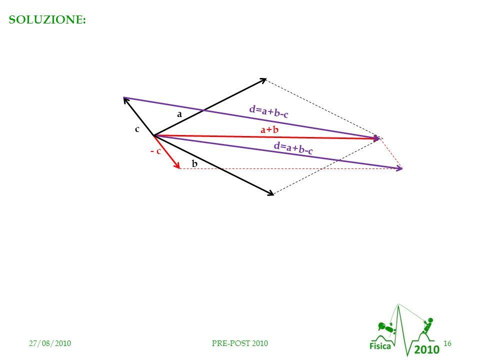 27/08/201016PRE-POST 2010 a b c - c d = a + b - c a+b d = a + b - c RISPOSTA D SOLUZIONE: