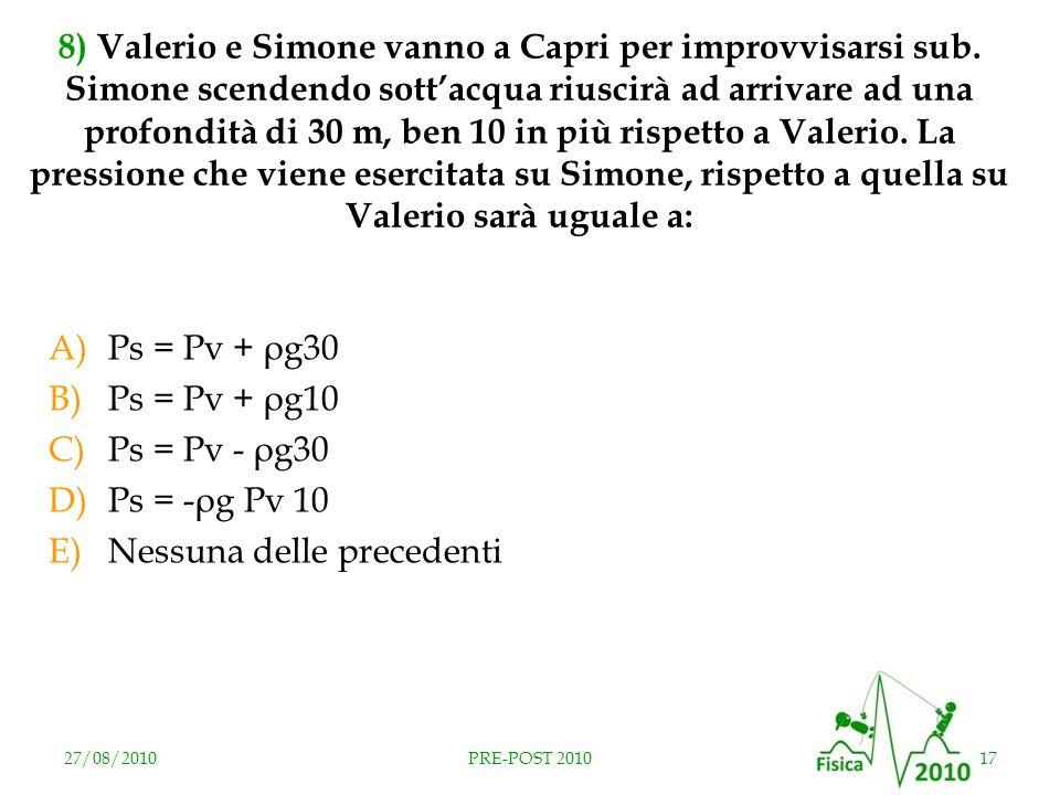27/08/201017PRE-POST 2010 8) Valerio e Simone vanno a Capri per improvvisarsi sub. Simone scendendo sottacqua riuscirà ad arrivare ad una profondità d