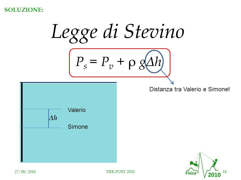 27/08/201018PRE-POST 2010 P s = P v + ρ gΔh Legge di Stevino Valerio Simone Distanza tra Valerio e Simone! ΔhΔh SOLUZIONE: RISPOSTA B
