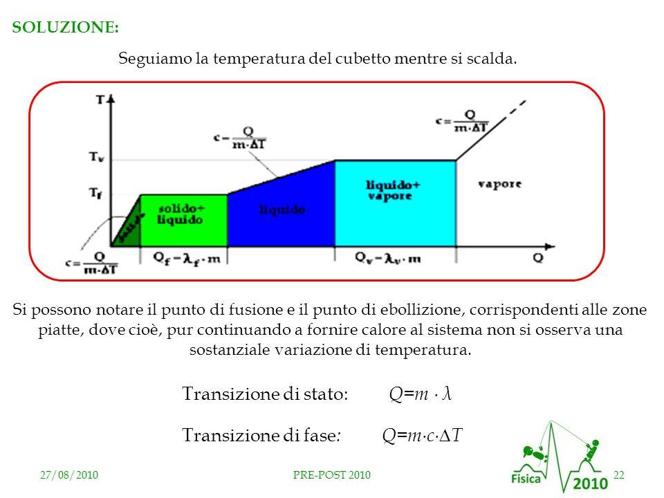 27/08/201022PRE-POST 2010 SOLUZIONE: Seguiamo la temperatura del cubetto mentre si scalda. Si possono notare il punto di fusione e il punto di ebolliz
