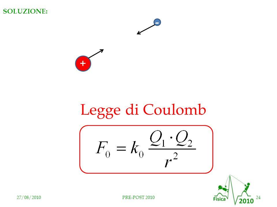27/08/201024PRE-POST 2010 + - Legge di Coulomb SOLUZIONE: RISPOSTA E