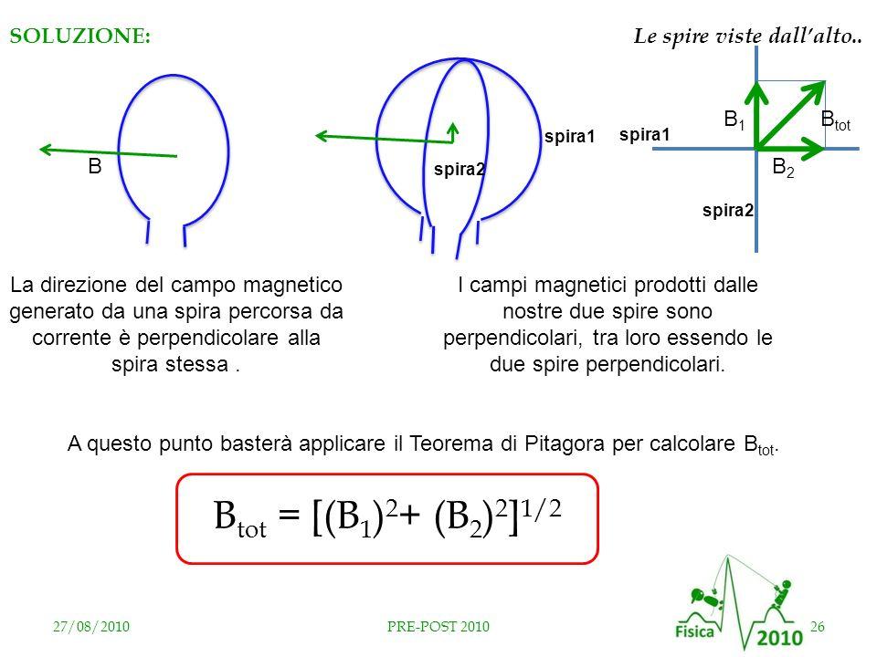 spira2 spira1 27/08/201026PRE-POST 2010 spira1 spira2 B2B2 B1B1 I campi magnetici prodotti dalle nostre due spire sono perpendicolari, tra loro essend