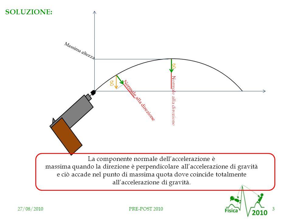 27/08/20103PRE-POST 2010 SOLUZIONE: Massima altezza g Normale alla direzione g La componente normale dellaccelerazione è massima quando la direzione è