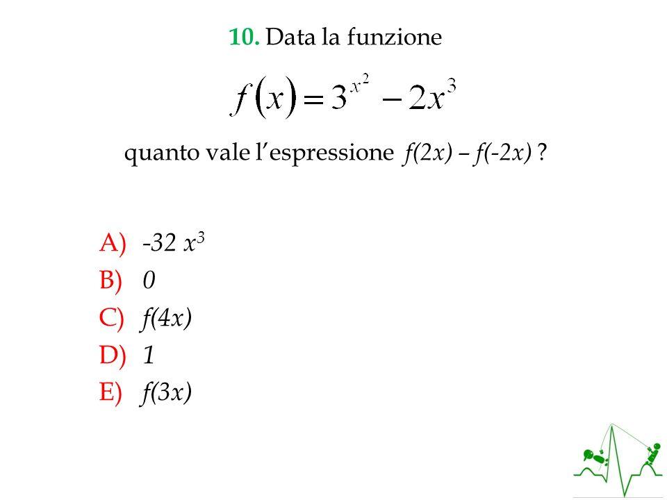 A) -32 x 3 B) 0 C) f(4x) D) 1 E) f(3x) 10. Data la funzione quanto vale lespressione f(2x) – f(-2x) ?