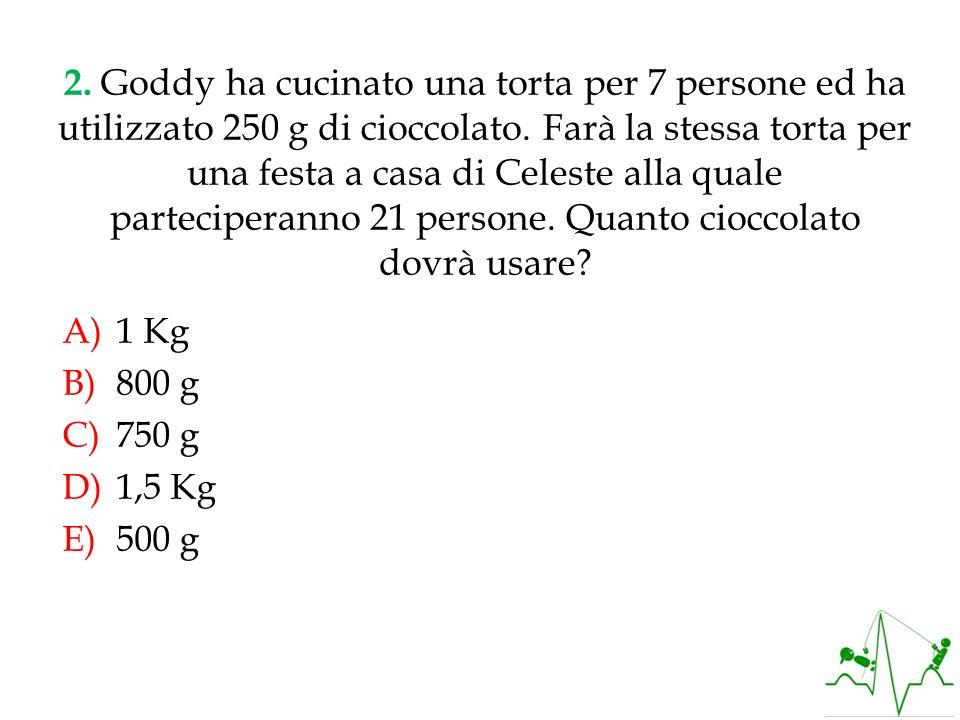 Se per 7 persone servono 250g di cioccolato, per 21 persone servono x grammi di cioccolato, cioè: RISPOSTA C SOLUZIONE: