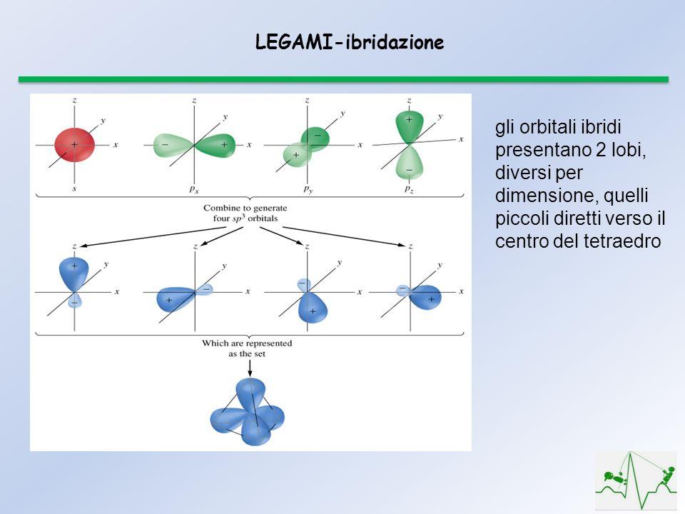 LEGAMI-ibridazione gli orbitali ibridi presentano 2 lobi, diversi per dimensione, quelli piccoli diretti verso il centro del tetraedro