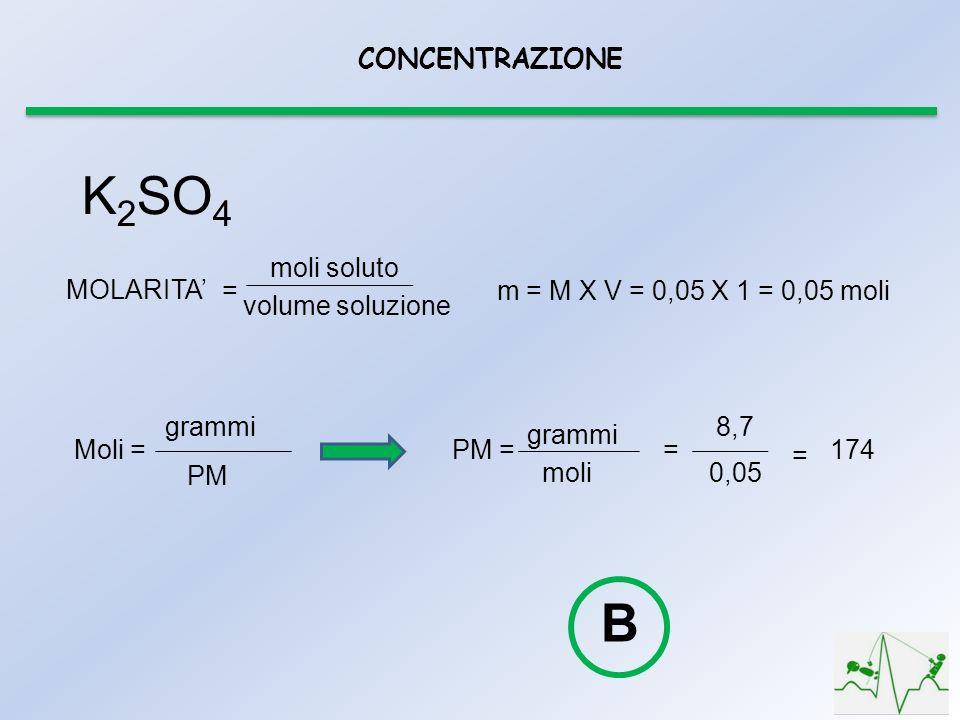 CONCENTRAZIONE K 2 SO 4 moli soluto volume soluzione MOLARITA = m = M X V = 0,05 X 1 = 0,05 moli Moli = grammi PM PM = grammi moli = 8,7 0,05 = 174 B