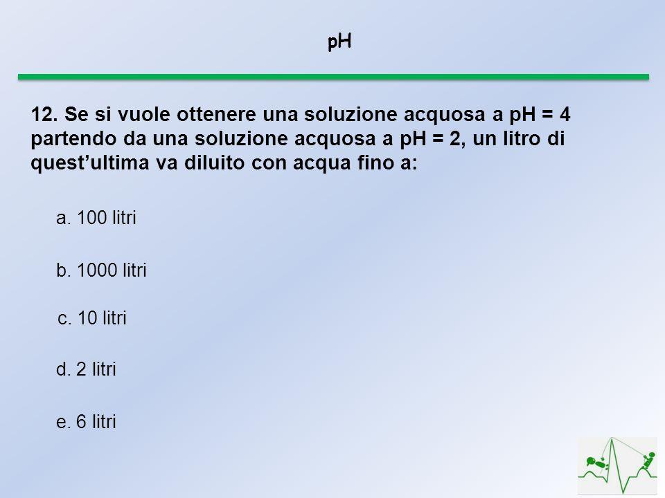 pH 12. Se si vuole ottenere una soluzione acquosa a pH = 4 partendo da una soluzione acquosa a pH = 2, un litro di questultima va diluito con acqua fi