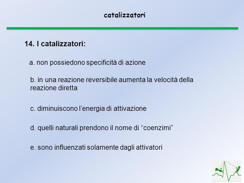 catalizzatori e. sono influenzati solamente dagli attivatori 14. I catalizzatori: a. non possiedono specificità di azione b. in una reazione reversibi