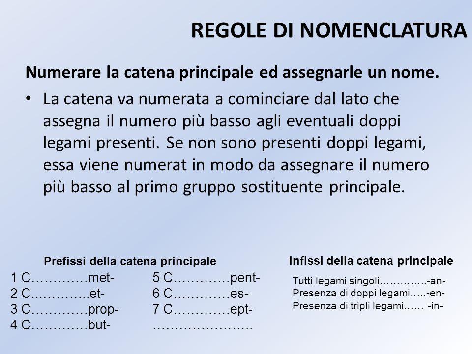 REGOLE DI NOMENCLATURA Numerare la catena principale ed assegnarle un nome. La catena va numerata a cominciare dal lato che assegna il numero più bass