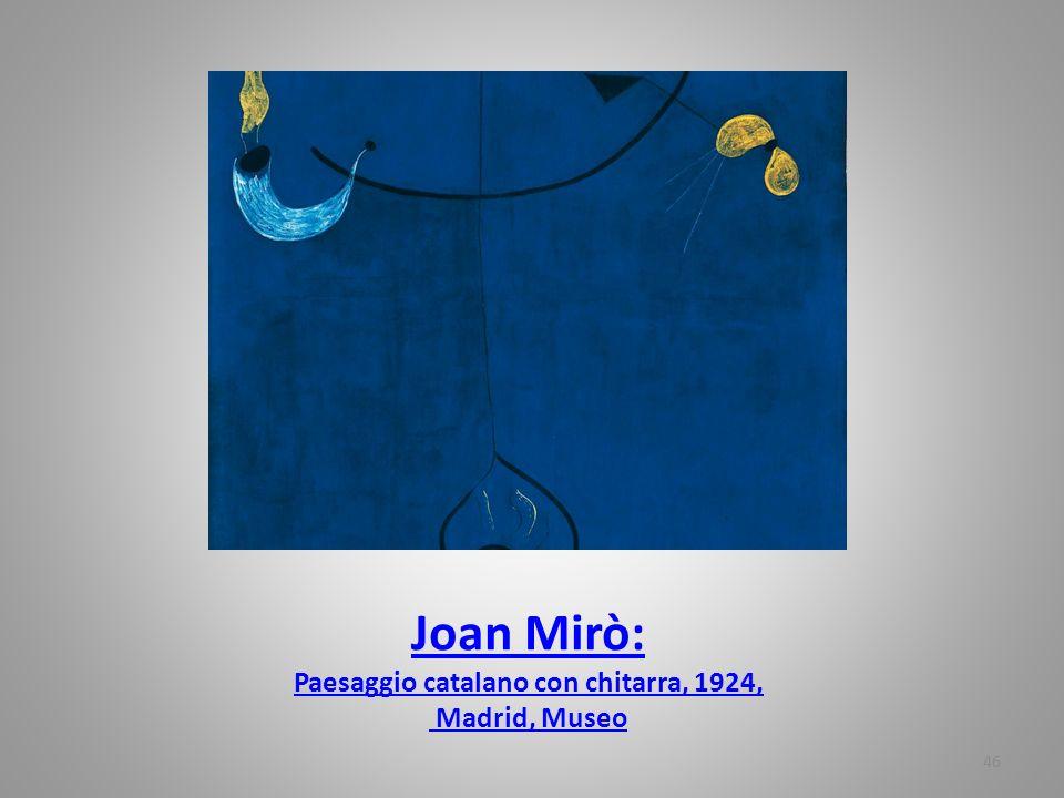 Joan Mirò: Paesaggio catalano con chitarra, 1924, Madrid, Museo 46