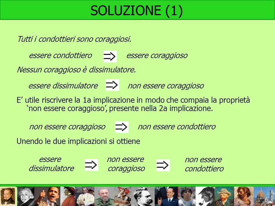 SOLUZIONE (1) Tutti i condottieri sono coraggiosi. Nessun coraggioso è dissimulatore. E utile riscrivere la 1a implicazione in modo che compaia la pro