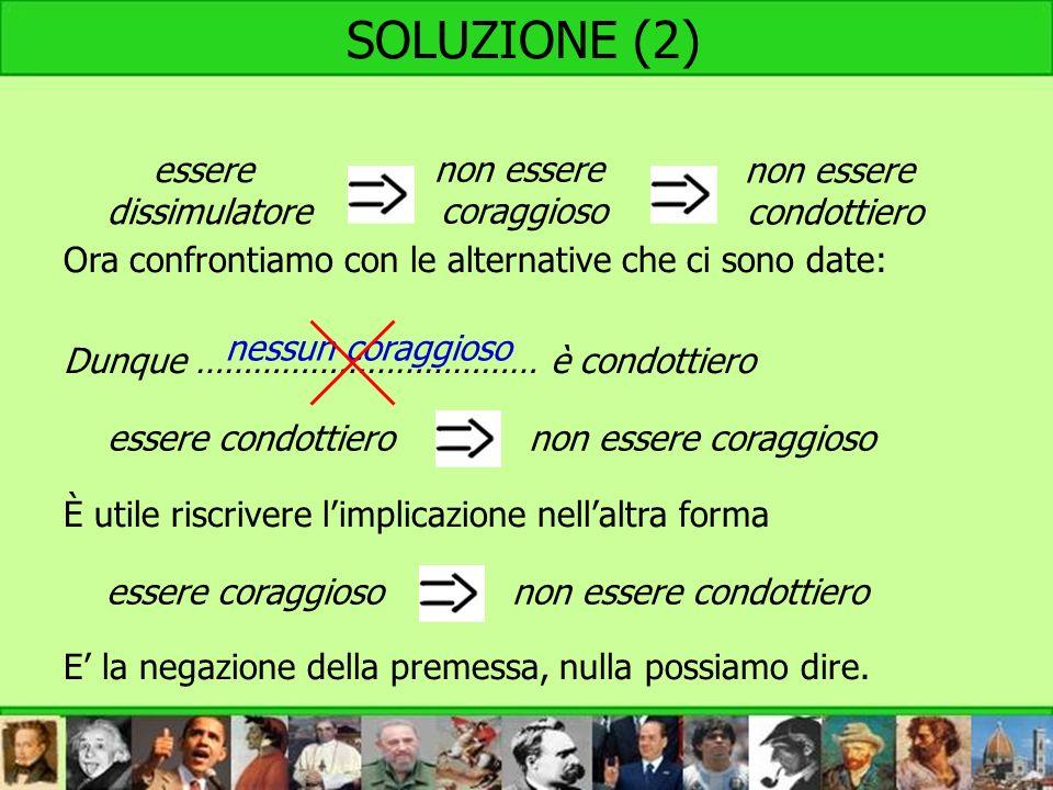 SOLUZIONE (2) Ora confrontiamo con le alternative che ci sono date: Dunque ……………………………… è condottiero È utile riscrivere limplicazione nellaltra forma