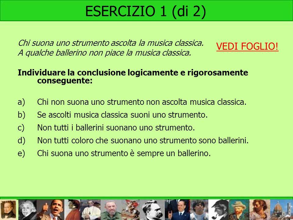 ESERCIZIO 1 (di 2) Chi suona uno strumento ascolta la musica classica. A qualche ballerino non piace la musica classica. Individuare la conclusione lo