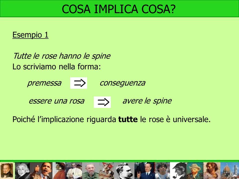 Esempio 1 Tutte le rose hanno le spine Lo scriviamo nella forma: Poiché limplicazione riguarda tutte le rose è universale. premessa conseguenza essere