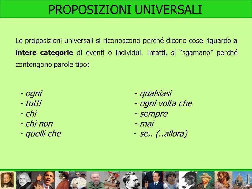 L Le proposizioni universali si riconoscono perché dicono cose riguardo a intere categorie di eventi o individui. Infatti, si sgamano perché contengon