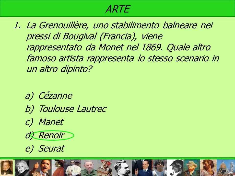 ARTE 1.La Grenouillère, uno stabilimento balneare nei pressi di Bougival (Francia), viene rappresentato da Monet nel 1869. Quale altro famoso artista