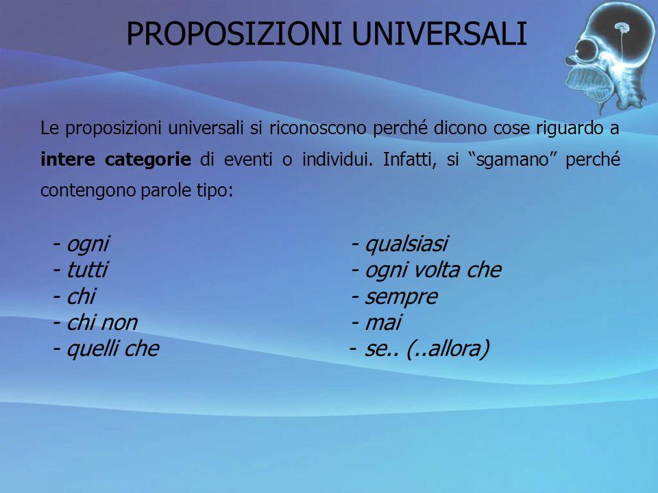 Le proposizioni universali si riconoscono perché dicono cose riguardo a intere categorie di eventi o individui. Infatti, si sgamano perché contengono